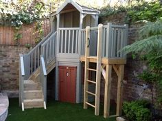 Corner playhouse shelter with storage Kids Garden Playhouse, Outside Playhouse, Pallet Playhouse, Build A Playhouse, Playhouse Outdoor, Wooden Playhouse, Playhouse Ideas, Backyard Fort, Small Backyard Landscaping