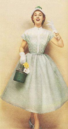 1950s striped spring dress