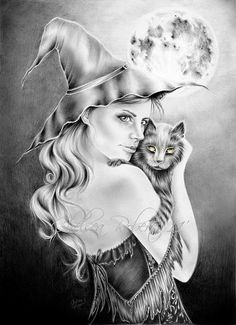 *A Walk into the Night *...Here is probably one of my most favorite drawings to date...I just wanted to draw something for halloween, so I created a Witch on a cold halloween night with her favorite creature, her cat of course!     8X11''  Made with Pencil (mechanical, 3H, HB, 6B)  Color pencil on the Cat's eyes.
