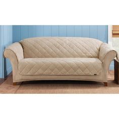 Protect your furniture from stains and signs of wear with this reversible sofa cover from Sure Fit. Ideal for homes with kids and pets, this quilted slipcover flips over for a sophisticated, suede look. This taupe cover blends with any color scheme. Sofa Couch, Sofa Throw, Cushions On Sofa, Sofa Set, Couches, Sofa Slipcovers, Dog Couch Cover, Best Sofa Covers, Taupe Sofa