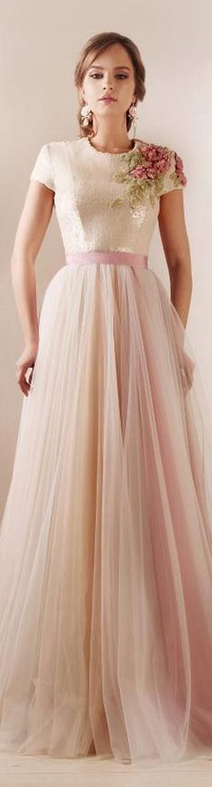 What a delicate floral detailing! Rami Kadi Dress. Maybe mother-of-the bride dress??