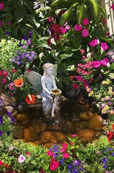 Glorious Enjoy Life With Your Own Flower Garden Beautiful Easy Ideas. Enjoy Life With Your Own Flower Garden Beautiful Easy Ideas. Angels Garden, My Fairy Garden, Dream Garden, Garden Art, Fairy Gardens, Garden Pond, Enchanted Garden, Zen Gardens, Garden Whimsy