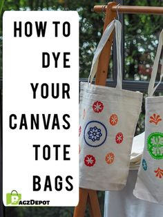 Whether you're dying canvas bags for personal use or creating eye-catching promotional products, keep reading to learn everything you need to know. Grab your favorite color dye and let's get started! Tie Dye Tips, Dyed Tips, Printed Tote Bags, Custom Tote Bags, Personalized Tote Bags, Fabric Art, Fabric Crafts, Hobbies That Make Money, Manualidades