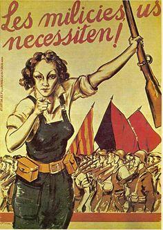 carteles muy anti franquista la mujer participa n la guerra