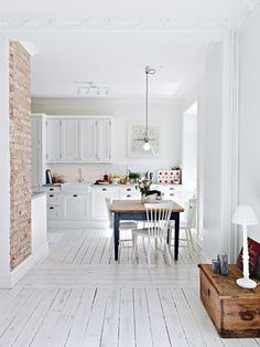 This is a lovely little apartment in Sweden where the space has been used  in a really great way. The kitchen is bright and well planned with great  concrete counter tops. The hallway is a pretty inviting space as is the  bedroom. It does not take a lot of furniture or a big home to create a  wonderful and peaceful place!   Enjoy!  Trudy  xx  via  Linking with: Mod Vintage Life, Sunny Simple Life