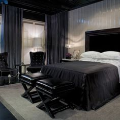 Black Rooms With A Rare Sense Of Understated Panache Interiors Black rooms in the house are very bad. But there are many ways to get rid of them and put a good ambiance in your house. Black Rooms With A Rare Sense. Gothic Bedroom, Modern Bedroom, Bedroom Decor, Bedroom Ideas, Bedroom Office, Bedroom Lighting, Bedroom Wall, Dream Home Design, House Design