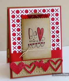 Hugs & Kisses Cover Up set is used to cut and emboss the base layers of this handmade valentine's card.  Kraft paper is used for the treat bag on the front, holding a gift card. Colors are red, white and kraft.