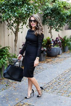 What to Wear to Work | Black Dress + Heels