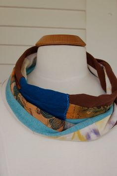 Upcycled   infinity SCARF  color block  lightweight by zasra, $30.00