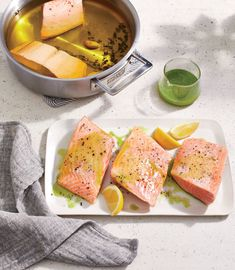 This classic olive oil poaching method results in balanced flavors, tender fillets, and also preserves the fish for even-better-tomorrow leftovers. Best Salmon Recipe, Salmon Recipes, Fish Recipes, Seafood Recipes, Healthy Foods To Eat, Healthy Dinner Recipes, Vegetarian Recipes, Healthy Eating, Cooking Recipes