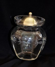 VINTAGE ETCHED GLASS JAM POT EPNS SILVER PLATE KITCHENALIA DINING TABLE WARE
