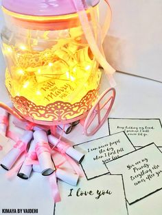 Items similar to Cute Jar with Messages on Etsy Personalized Mason Jars, Mason Jar Diy, Love Notes For Her, Things To Do With Your Boyfriend, Reasons Why I Love You, Long Distance Relationship Gifts, Romantic Things To Do, Sweet Quotes, Beautiful Lights