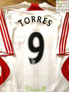 Official Adidas Liverpool away football shirt from the 2007/2008 season. Complete with Torres #9 on the back of the shirt in Premier League lettering.
