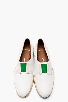 MAIYET Ivory & green Slip on Derbys