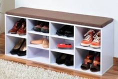 Shoe Storage Bench White Wooden Cabinet Hallway Cube Shelves Seat Organiser Unit for sale online Shoe Storage Bench White, Hallway Shoe Storage, Shoe Storage Unit, Wooden Cabinets, Diy Cabinets, Benches For Sale, Cube Shelves, Shoe Cabinet, Diy Décoration