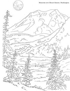 woods landscape coloring pages google search - Mountain Landscape Coloring Pages