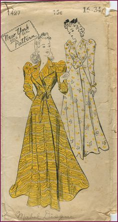 I had a vintage dressing gown like this once in baby blue swiss dot overlay on taffeta - and that waistline too... sigh...New Your Pattern #1427