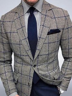 Product number brand name comelogic gender male season autumn,winter Material Polyester Pattern type Grid pattern Sleeve Length Long sleeve Top collar Suit collar Wearing occasion daily Size S M L XL Bust (inch) Length (inch) Der Gentleman, Gentleman Style, Plaid Suit, Plaid Blazer, Blazer Suit, Mens Fashion Suits, Mens Suits, Stylish Men, Men Casual