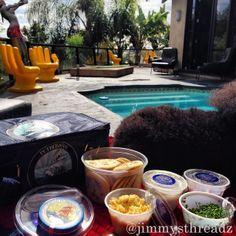 @jimmysthreadz Vision of Paradise, #LittleBlueTin by the pool... #caviar #petrossian #OurFansAreArtists