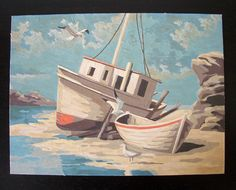 Beached Boats 1969 Signed Mid Century Vintage Paint by Number PBN Unframed Painting, $45.00