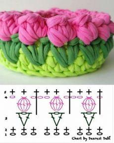 crochet flowers Grfico de detalhes para valorizar seu cesto de fio de malha De Frente Para O Mar - Stricken ist so einfach wie 3 Das Stricken luft auf drei wesentliche Fertigkei Crochet Home, Crochet Crafts, Knit Crochet, Diy Crafts, Upcycled Crafts, Creative Crafts, Yarn Crafts, Fabric Crafts, Knitting Stitches
