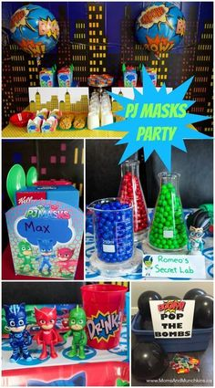 PJ Masks Party Ideas including party food, decorating ideas, free printables, activities and more! Decoration Ideas PJ Masks Party Ideas and Printables - Moms & Munchkins Pjmask Party, Party Fiesta, Festa Party, Party Snacks, Fourth Birthday, 4th Birthday Parties, Boy Birthday, Birthday Ideas, Pj Masks Birthday Cake