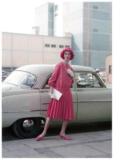 Ina Balke in a dress by Bessie Becker, photo by Regina Relang in Munich, Madame magazine, July 1958