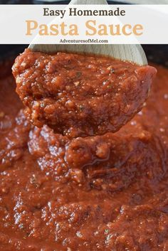Homemade Pasta Sauce for spaghetti, lasagna, and other favorites. Simple ingredi… Homemade pasta sauce for spaghetti, lasagna and other favorites. Simple ingredients and delicious aroma, good with meat or meatless. Keep going and freeze! Quick Spaghetti Sauce, Homemade Pasta Sauce Easy, Easy Pasta Sauce, Homemade Lasagna, Spaghetti Recipes, Spaghetti Lasagna, Meatless Spaghetti Sauce Recipe, Shrimp Spaghetti, Lasagna Sauce Recipe