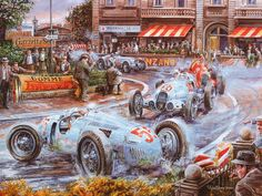 Vintage Cars and Racing Scene, Automotive Art of Vaclav Zapadlik - Vintage Car Racing Scene, Vintage Car Paintings Wallpaper 6 Classic European Cars, Classic Race Cars, Old Race Cars, Car Illustration, Car Posters, Vintage Race Car, Car Drawings, Automotive Art, Car Painting