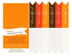 Free Thanksgiving Flags (Cute on desserts, drink stems, wrapped on gifts, straws, etc)!!