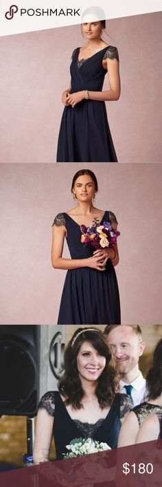 BHLDN Evangeline Dress in Sapphire Floor length BHLDN navy/midnight blue dress. Gold and lace cap sleeves with gold and lace detail on chest. Worn once as a bridesmaid dress. Altered from size 10 to size 6. Excellent condition! Anthropologie Dresses Maxi