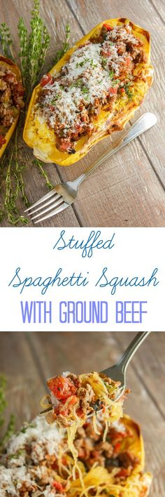 Stuffed Spaghetti Squash with Ground Beef and Tomato Sauce