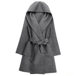European fashion inverno con cappuccio a maniche lunghe cappotti in cashmere cintura con fiocco giallo senape cardigan scialle del capo cappotto di lana a19(China (Mainland))