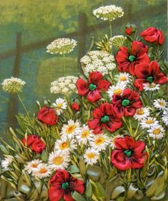 Ribbon Embroidery of poppies, daisies and quen Anne's lace - Gallery.ru / Фото…