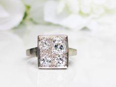 Art Deco Engagement Ring 0.78ctw Old Mine Cut Diamond Wedding Ring 14K White Gold Unique Custom Design Square Antique Engagement Ring