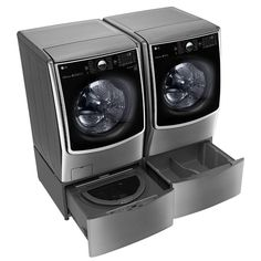 Mini Washer And Dryer, Stackable Washer And Dryer, Stacked Washer Dryer, Laundry Room Storage, Laundry Room Design, Laundry Rooms, Home Depot, Laundry Pedestal, Tub Cleaner