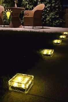 Ice Cube Solar Power Pathway Garden Light – List Inspo - Solar brick lights is solar power buried lights, it can absorb the sunlights by the middle of the b - Outdoor Garden Lighting, Outdoor Light Fixtures, Garden Lighting Ideas, Outside Lighting Ideas, Outdoor Decor, Garden Ideas, Outdoor Furniture, Ice Cube Lights, Home Lighting Design