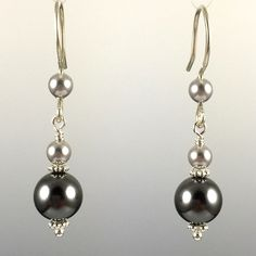 - Swarovski Crystal Pearls - 8mm Pearl at the bottom - 100% .925 Sterling Silver Earwires & Components with Rubber Backers - Earwires and Links are Hand Formed With Sterling Silver Wire