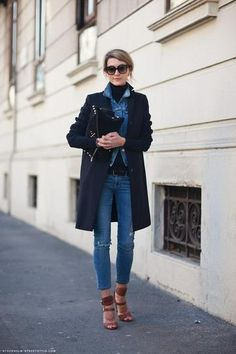 Love the idea of layering a buttoned-up denim jacket under your overcoat. #EarlJean