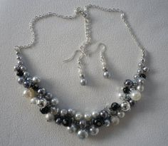 Grey Silver Black Pewter and Ivory Cluster Necklace by firstfan, $10.00