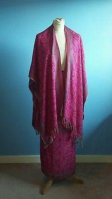 Vintage 70s shawl poncho and wrap skirt set fuchsia/magenta viscose boho gypsy