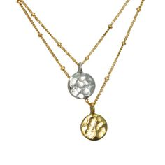 Dangling Karats. Sun and Moon necklace. Hammered by GojoDesign