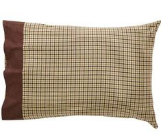 Pillow Cases Set of 2 Plaid Brown Tan Rustic Barrington VHC Brands Standard Size -  This set of 2 standard sized pillow cases feature a plaid of brown and tan with moss green in the main body, with a patterned fabric of brown on the side border.  Designed to coordinate with the Barrington quilt, but the color palette and style are great with any rustic bedding set! #pillowcases #lodgedecor