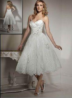 Tea length wedding gown.