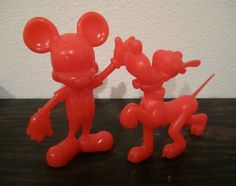 1970's Hard Red Plastic Mickey Mouse and Pluto Dog Figure Toy on Etsy, $12.00j  I still have my original Mickey!