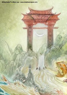 Shadowscapes - The Art of Stephanie Law. In Chinese and Japanese legend the lowly carp spends its life trying to swim up the Yellow River. At the source of the river is a great roaring waterfall. If the koi were able to swim up that waterfall, it would be rewarded and transformed into a dragon. Thus, the koi is a symbol of personal advancement, perseverance, determination in the face of impossible obstacles, and inner strength. The journey of the carp to become a dragon was a metaphor for…