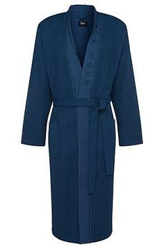 Wellness bathrobe in cotton blend with bamboo viscose: 'Kimono', Blue