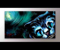 Alice in Wonderland Decor | Cheshire Cat Art | Alice in Wonderland Canvas | Childrens Art | Alice in Wonderland Art | Cheshire Art | Cat Art