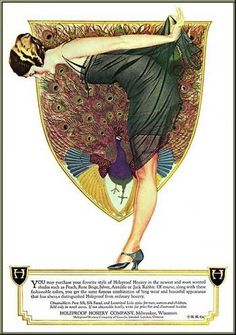 1920s Hosiery advertisment    What a gorgeous ad. I love playing with peacock colours working them with the 1920s dresses we have in store at Revival Retro. I'm not sure I would ever be convinced to wear real 1920s hosiery though, Nora Batty eat your heart out!
