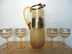 Antique Hand Blown Amber Bohemia Crystal Czechoslovakia Pitcher Set w/Labels on eBid United States
